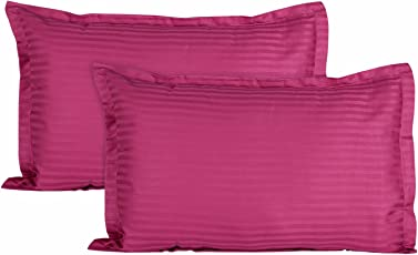Ahmedabad Cotton Luxurious Sateen Striped Pillow Cover / Case Set (2 Pcs) 300 Thread Count