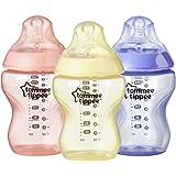 زجاجة اطفال كلوسر تو نيتشر من تومي تيبي، مضادة للمغص، خالية من البيسفينول ايه - للبنات، وردي/اصفر/ارجواني، تدفق بطيء، 9 اونصة