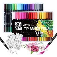 Pennarelli con Doppia Punta, 36 colori Dual Brush Pen con 4 Modello di Pittura, penne a doppia punta, Set di Penne a…