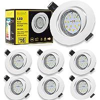 Spot LED Encastrables Orientable, Bojim 6x GU10 6W Lampe de Plafond Blanc Chaud Rond Plafonnier Encastré 2800K 600lm…