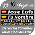 Kit 10 Pegatinas Vinilo Bandera España + tu Nombre - Bici, Casco, Pala De Padel, Monopatin, Coche, Moto, etc. Kit de Diez Vin
