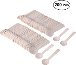 200Pcs Disposable Wood Tableware Party Cutlery Spoons Birthday Party Dinnerware for Jelly Ice Cream Dessert 100MM