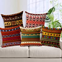 AEROHAVEN Decorative Hand Made Jute Throw/Pillow Cushion Covers (Multicolor, 12 x 12 inches) -Set of 5