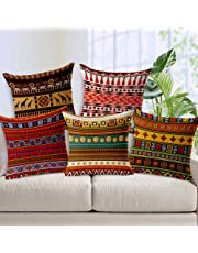 AEROHAVEN™ Set of 5 Decorative Hand Made Jute Throw/Pillow Cushion Covers - 12 x 12 inches