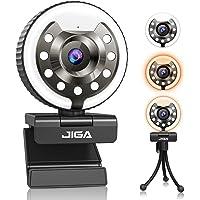 Webcam 1080P per PC, Webcams Full Hd con Microfono, Fotocamera Usb con 3 Luci e Luminosità, Treppiede, Grandangolo di 90…
