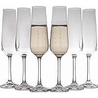 Lot de 6 flûtes à champagne en cristal - Élégantes et transparentes - Pour champagne, prosecco, mimosas ou cocktails…