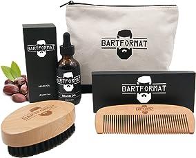"""Bartpflege Set""""WEICHMACHER"""" von BARTFORMAT - Bartöl (60 ml) + Bartkamm (Birnbaumholz) + Bartbürste (Wildschweinborsten) inkl. Kulturbeutel - Das Bartpflegeset Männer Geschenk"""
