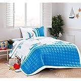 طقم سرير اطفال مضغوط 3 قطع مقاس مفرد، بتصميم أسماك قرش مضحكة
