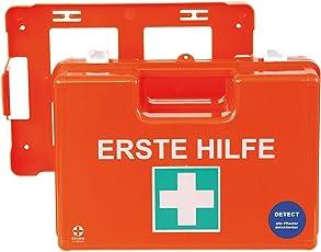 Betriebsverbandkoffer Domino DETECT DIN 13 157 / Premium-Verbandskasten für die Nahrungsmittelbranche mit Wandhalterung
