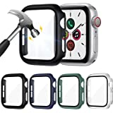 LORDSON 4-Pack Glass Screen Protector compatible with Apple Watch SE/Series 6/5 / 4 44mm, Full Coverage Scratch Resistant Mat