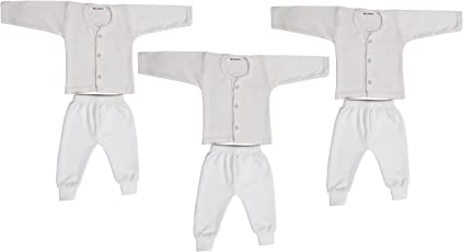 Kuchipoo Front Open Kids Thermal Top & Pyjama Set for Baby Boys & Baby Girls, Pack of 3 (White)