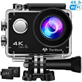 """4K Action Kamera WiFi 170°Weitwinkel Helmkamera Unterwasserkamera -VON Tonbux- 4K HD / 2""""HD-Bildschirm/Wasserdicht 30M / 2x1050mAh Akku / 20 Zubehör/für Tauchen, Motorrad, Fahrrad Fahren usw"""