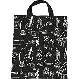 KingPoint, borsa da donna in cotone, con motivo musicale: chiave di violino Muiscal instruments black