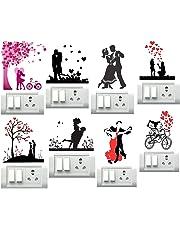 Decor Villa Couples Switch Board & Wall Sticker (PVC Vinyl,Size- 30 cm x 30 cm)-Set of 8