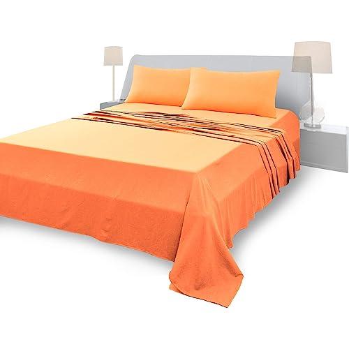 Lenzuola Matrimoniali Completo, Materiale 100% Puro Cotone, Lenzuola e 2 Federe da Letto, Biancheria da Letto Tinta Unita, arancione