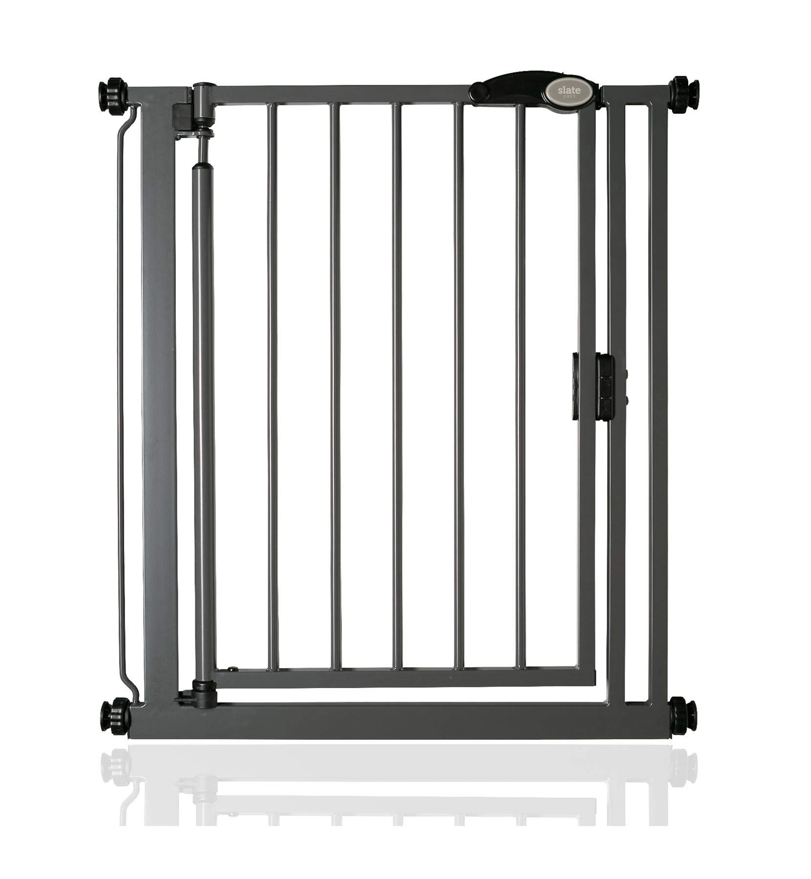 Safetots Pressure Fit Self Closing Gate Range (68.5cm - 75cm, Slate Grey) Safetots Self closing - gate closes slowly behind you Two way opening (widget on bottom bar can be adjusted to set gate opening towards or from user) Height: 75.5cm 1