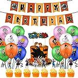Suministros de fiesta de cumpleaños de Dragon Ball, las decoraciones de Dragon Ball Z incluyen adorno para tarta, adornos par