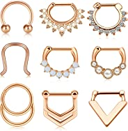 JFORYOU 9PCS 16G Stainless Steel Septum Piercing Clicker Nose Septum Rings Hoop Tragus Cartilage Helix Body Piercing Jewelry