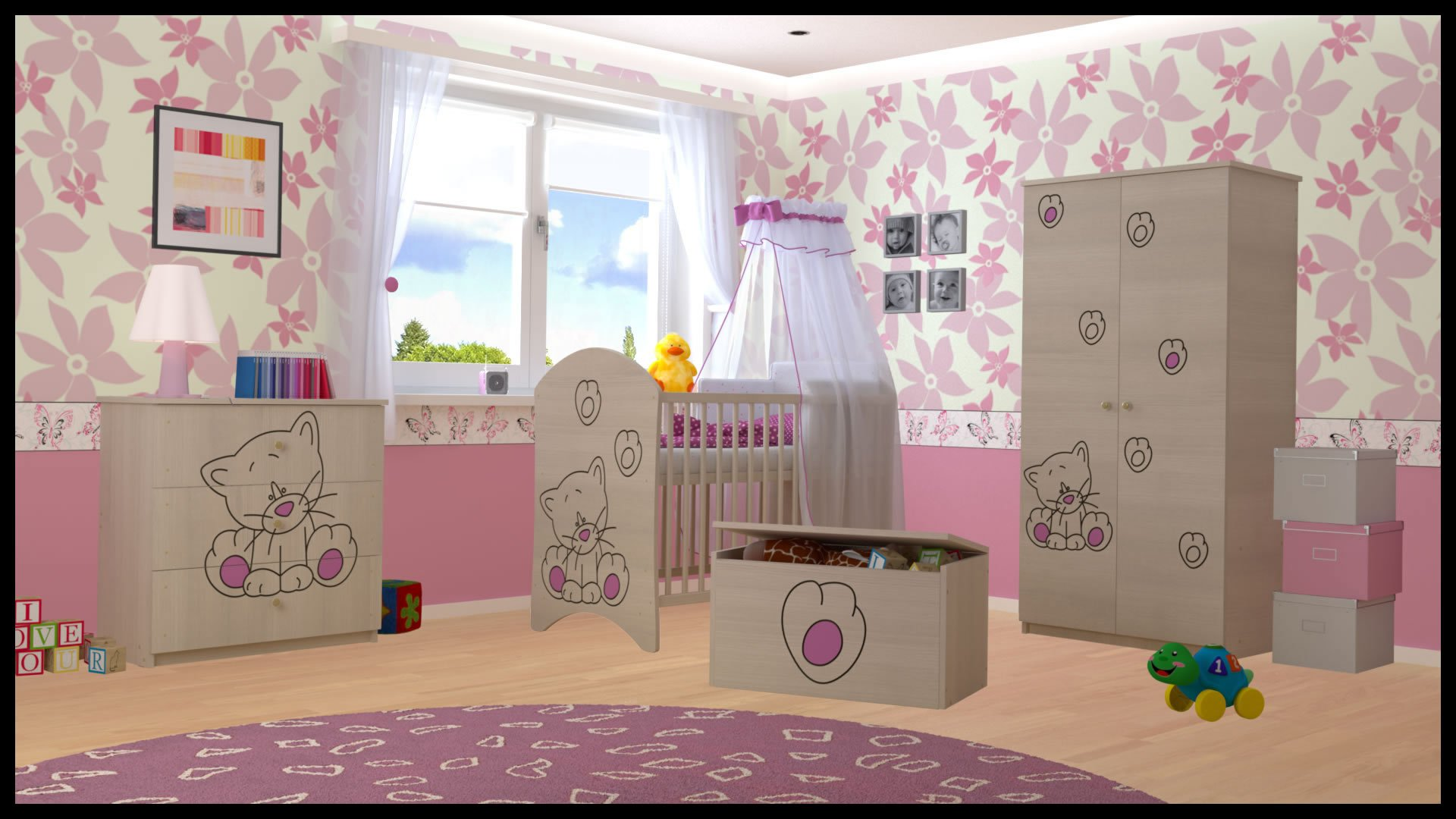 5 PCS BABY NURSERY FURNITURE SET - COT + MATTRESS + WARDROBE + CHEST OF DRAWERS + TOY BOX (model 6)  Included: cot + mattress + wardrobe + chest of drawers + toy box Material: wood GREAT QUALITY 1