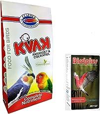 Kvak Parakeet & Cockatiel Food Natural Bird Food 2kg with 30 ml Multivitamins Bird Supplement