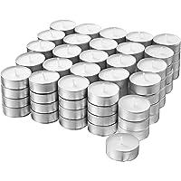 H HANSEL HOME Lot de 100 Bougies chauffe-plat Blanc, 4 heures de combustion, Non profumées Ø 38mm