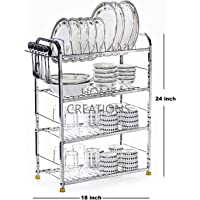 Home Creations 4 Layer 18 x 24 inch Kitchen Dish Rack/Kitchen Utensils Rack/Modern Kitchen Storage Rack/Kitchen Organizer/Utensils Rack with Plate & Cutlery Stand