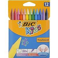 BIC Kids Pastelli Colorati, Plastidecor, Colori Assortiti, Confezione da 12 Pastelli, Colori per Bambini a Casa e a…