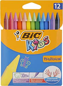 Bic Kids Plastidecor Pastelli Colorati Confezione da 12 Pastelli Colori Assortiti, multicolore