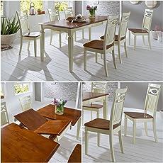 Moebella Essgruppe Essecke Massiv Holz Rustico Used Look Vintage Tisch Set  Shabby Style Esstisch Ausziehbar