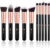 BESTOPE 10 Stück Pinselset Professionelle Makeup Pinsel Lackierter Echtholzstiel Synthetisches Haar Pinselset Anzüge für Berufsverfassungs oder Ausgangsgebrauch mit Aufbewahrungstasche