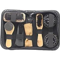 Accessotech Set da viaggio di prodotti per lucidare/pulire le scarpe, 8 in 1, con lucidante per scarpe dai colori neutri…