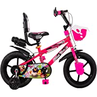 Maskman 14T BMX Single Speed Cycle/Bicycle for Kids Boys & Girls with Training Wheels (Age Group 3-5 Years-Neon Pink)