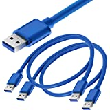 Storite 2 Pack 60cm High Speed USB 3.0 Type A Male to Type A Male Cable -Blue