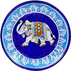Blue Pottery Ceramic Decorative Wall Hanging Handmade Plate