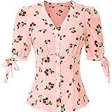 Belle Poque Vintage Blusa da Donna a Manica Corta a Sbuffo con Collo a V