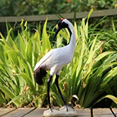 SLB Works Vivid Artificial Red-Crowned Crane Realistic Sculpture Home Garden Decor