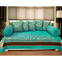 Naini Home Presents 500 TC Chennile Velvet Diwan Set (Set of 8) 1 Single bedsheet (60*90 inch), 5 Cushion Covers (16*16 Inch) and 2 Bolster Covers (16*32 Inch), Color-Aqua Z350