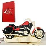 Biglietti auguri compleanno 3D motociclista, biglietti invito compleanno pop up con moto per bambini o patente moto, cartolin