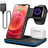 Wireless Charger, 15W Charging Station 3 in 1 Charging Dock Compatible with Apple iPhone Series Apple Watch 2/3/4/5 Series Ai