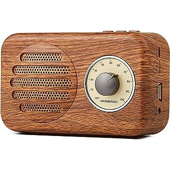 Naturalife Mini Enceinte Stéréo Rétro Couleur du Bois Radio FM Jack Audio 3.5 mm, Ports USB Cartes TF, Son Stéréo 5W