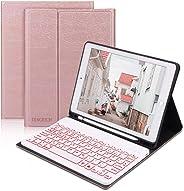 D DINGRICH Tastatur Hülle für iPad 2019 10.2 (7. Gen)- iPad Air 10.5 2019- iPad Pro 10.5 2017, Schützhülle mit Hinterleuchte