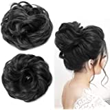 PEMA Combo Of Synthetic Hair Bun Extension Artificial Juda For Women And Girls, Set Of 2, 30 Gram, Black,
