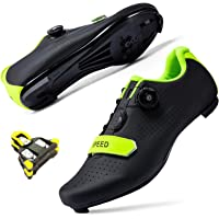 DIQUEQI Mens Womens Cycling Shoes Road Riding Rotating Shoe Buckle Breathable Cleat Compatible SPD Indoor Cycling Shoes…
