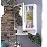 URBAN DESIRES Bathroom Cabinet with Mirror Plastic Strong and Heavy New Look 6 Shelves Storage Organiser and Shelf, 22 x 14 i