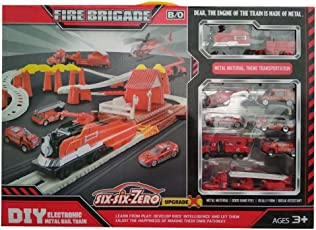 IndusBay FirevStation Site Toy Battery Operated Track & Train Set with 7 Unbreakable Fire Rescue Fireman Vehicles
