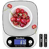 Newdora Bilancia da Cucina Smart Digitale con Funzione Tare,5kg/11 lbs Professionale Acciaio Inox Alta Precision Bilancia Ele