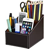 Discoball Remote Control Holder,3 Compartment PU Leather Desk Organiser Pen Holders Desk Tidy Business Card Pen Mobile Phone