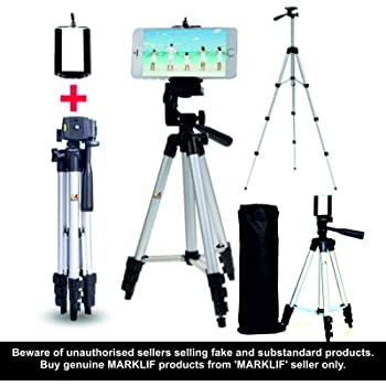 Marklif Adjustable Aluminium Alloy Tripod Stand Holder for Mobile Phones, 360 mm -1050 mm, 1/4 inch Screw