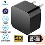 Asleesha WiFi HD 4K Spy Camera Charger Light Vision 1920P x 1080P HD USB Wall Charger WiFi Hidden Spy Camera for Security Surveillance (Black)