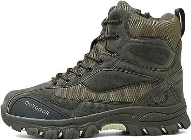 Stivali da Lavoro da Uomo Tattici in Pelle Esercito Caccia Trekking Campeggio Alpinismo Stivali Invernali Caldi Scarpe Stringate Casual